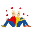 young couple sitting with back to each other vector image vector image