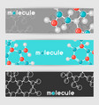 banners with molecular structure abstract vector image