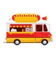 the colorful cute hot dog van flat vector image