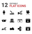 12 production icons vector image vector image