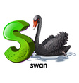 A letter S for swan vector image vector image