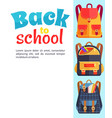 back to school poster with backpacks and pockets vector image vector image