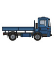 blue flatbed truck vector image vector image