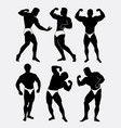 body beautiful contest body building silhouette vector image vector image