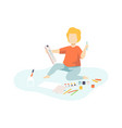 boy sitting on floor and drawing kids creativity vector image vector image
