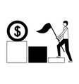 businessman with flag climbing stairs money vector image