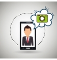 Cartoon man smartphone camera vector image