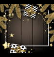christmas and new year wooden card with fir vector image vector image