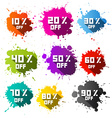 Colorful Discount Sale Blots - Splashes Set vector image vector image