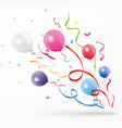colorful party confetti with balloon on white back vector image vector image