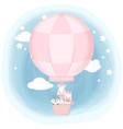 cute animals floating on air balloon hand drawn