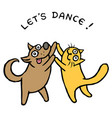 cute dog and cat dancers vector image vector image
