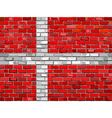 Flag of Denmark on a brick wall vector image vector image