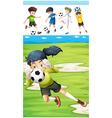 Football players in the field vector image vector image