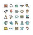 freelance signs color thin line icon set vector image vector image
