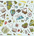 Geography symbols seamless pattern equipments for