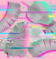 glitch effect seamless pattern tropical elements