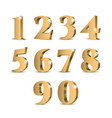 gold 3d numbers vector image vector image