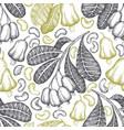 hand drawn sketch cashew seamless pattern organic vector image vector image