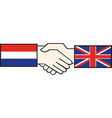 handshake with russia and great britain flag vector image vector image