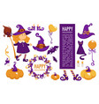 happy halloween celebration symbolic elements vector image vector image