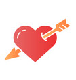 heart pierced with arrow flat icon love color vector image vector image