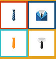 icon flat necktie set of cravat suit clothing vector image