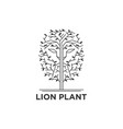 lion face in trees logo vector image vector image