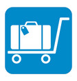 luggage trolley flat icon vector image vector image