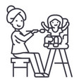 mother feeding child line icon sign vector image vector image