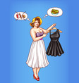 overweight woman holds little black dress vector image vector image