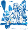 poseidon puddle surfer on surfboard hand draw vector image