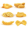 realistic cooking pasta types isolated set vector image