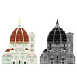 santa maria del fiore italy without outline vector image vector image