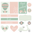 set of cards hearts and stickers with airballoon vector image vector image