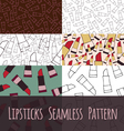 Set seamless pattern liptick vector image vector image