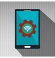 smartphone gears system symbol vector image
