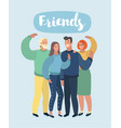smiling young hugging friends vector image vector image