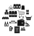 Supermarket icons set simple style