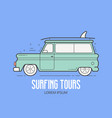 surfing tours travel logotype vector image vector image