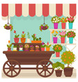 trade tent with beautiful flowers in pots vector image