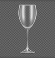 Transparent realistic empty wine glass vector image