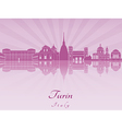 Turin skyline in purple radiant orchid vector image vector image