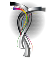 Wavy silver and luminescent strips vector image vector image