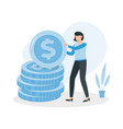 woman is standing near a big coin money earning vector image vector image
