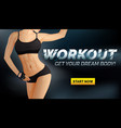 workout banner poster with slim woman body in vector image