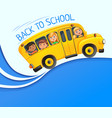 yellow bus with kids on blue banner vector image vector image