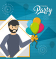 young man in party vector image vector image