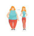 young woman before and after losing weight vector image