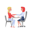 young woman having job interview with hr vector image vector image